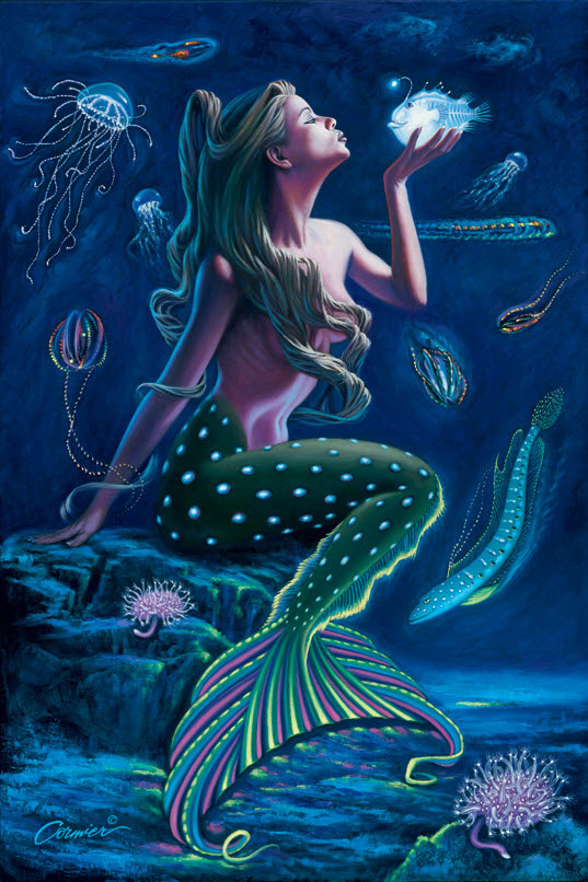 Bioluminescent-Mermaid-Poster-Print