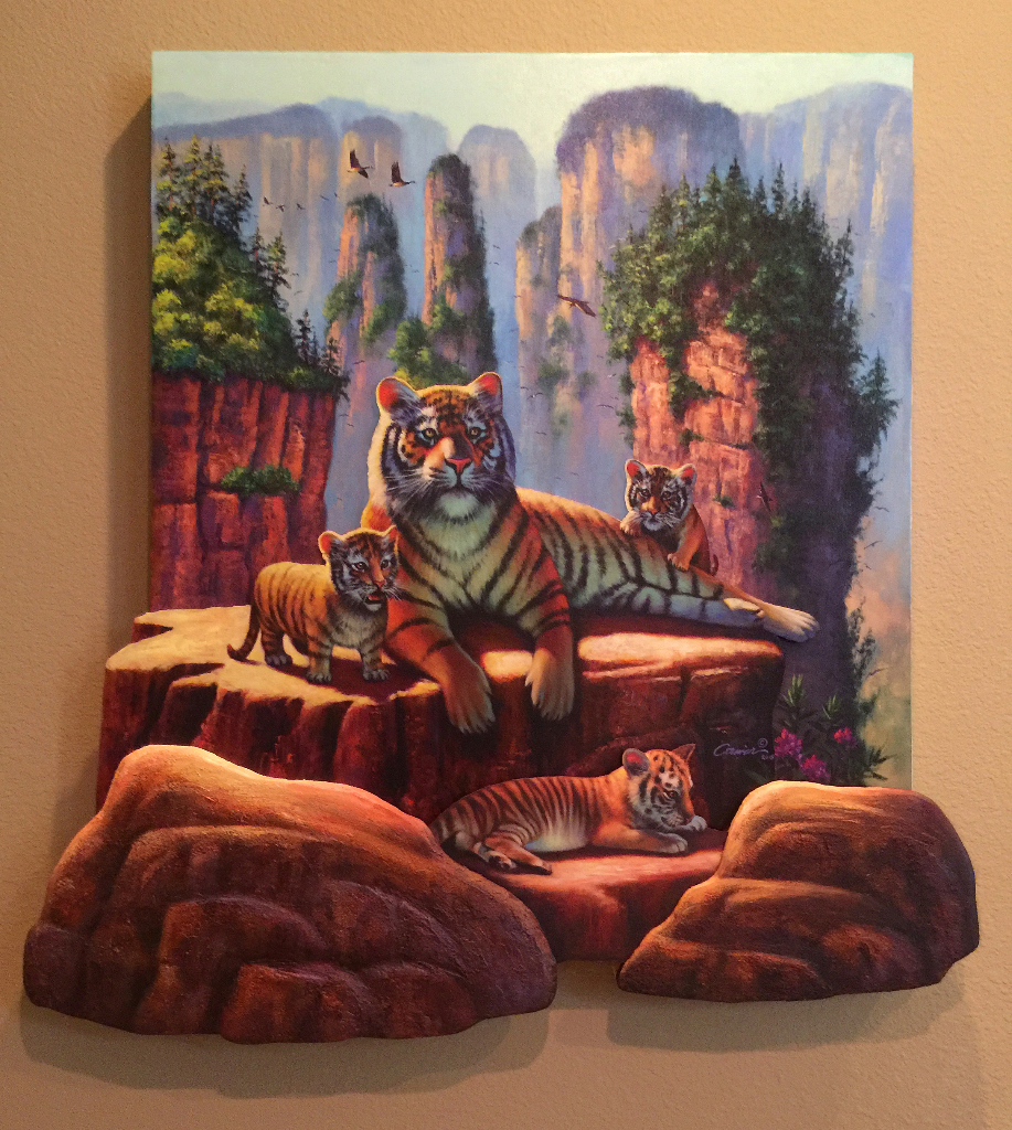 zhang tigers 3d layered art – wil cormier fine art gallery